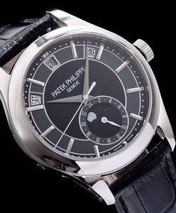 Patek Philippe Grey Dial White Gold Black Leather Mens Watch Black