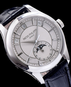 Patek Philippe Grey Dial White Gold Black Leather Mens Watch White