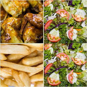 BBQ Chicken, French Fries & Tossed Salad
