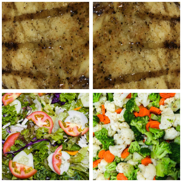 Grilled Fish (Marlin), Steamed Vegetables & Tossed Salad