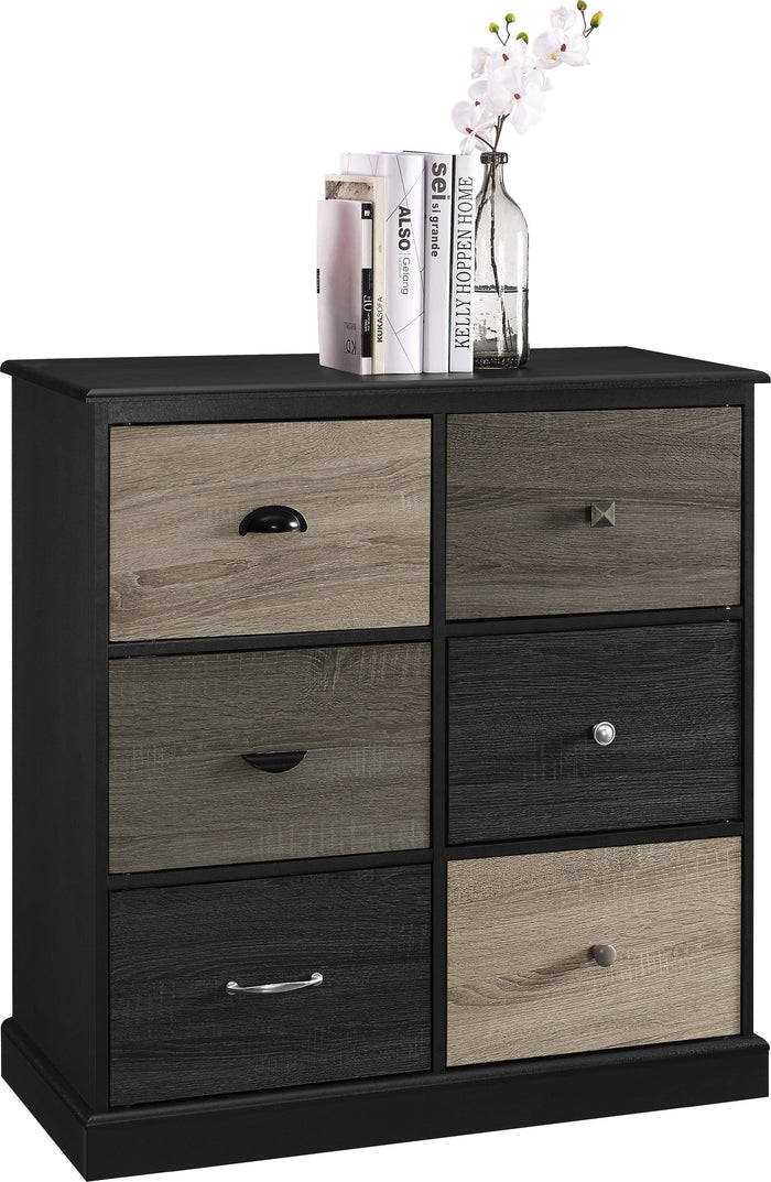 Dorel Home Mercer Range 6 Door Storage Cabinet in Black