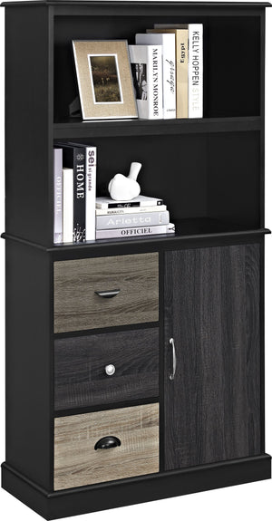 Dorel Home Mercer Range Storage Bookcase in Black