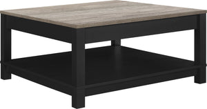 Dorel Home Carver Range Coffee Table in Weathered Oak and Black