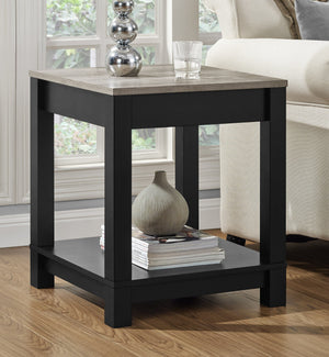 Dorel Home Carver Range End Table in Weathered Oak and Black