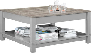 Dorel Home Carver Range Coffee Table in Weathered Oak and Grey