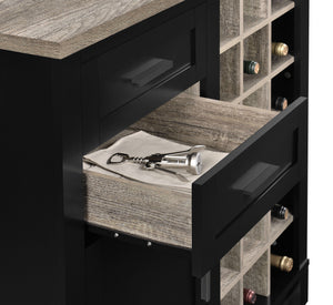 Dorel Home Carver Range Bar Cabinet in Weathered Oak and Black