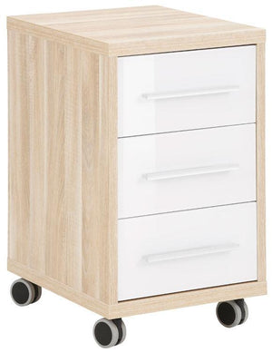 Maja Set+ 3-Drawer Pedestal in Natural Oak and White Glass (1671-2446)