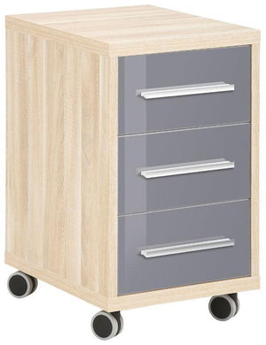 Maja Set+ 3-Drawer Pedestal in Natural Oak and Grey Glass (1671-2483)