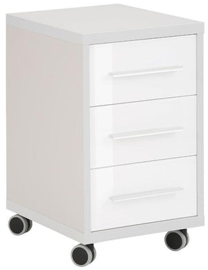 Maja Set+ 3-Drawer Pedestal in Platinum Grey and White Glass (1671-6346)
