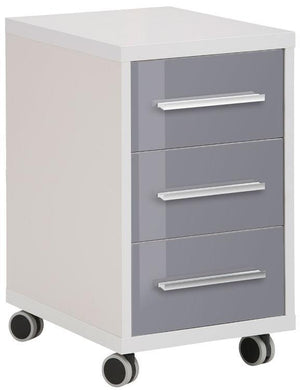 Maja Set+ 3-Drawer Pedestal in Platinum Grey and Grey Glass (1671-6383)