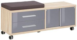 Maja Set+ Mobile Storage Unit in Natural Oak and Grey Glass (1674-2483)