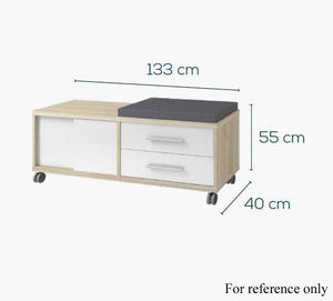 Maja Set+ Mobile Storage Unit in Platinum Grey and White Glass (1674-6346)