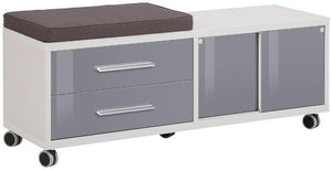 Maja Set+ Mobile Storage Unit in Platinum Grey and Grey Glass (1674-6383)
