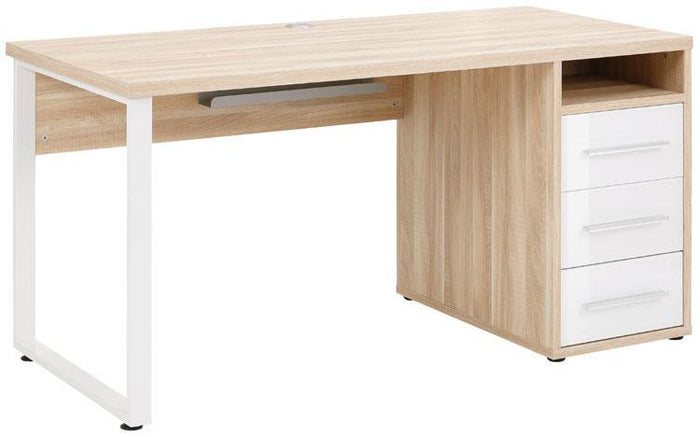 Maja Set+ 1500 Pedestal Desk in Natural Oak and White Glass (1675-2446)