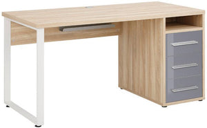 Maja Set+ 1500 Pedestal Desk in Natural Oak and Grey Glass (1675-2483)