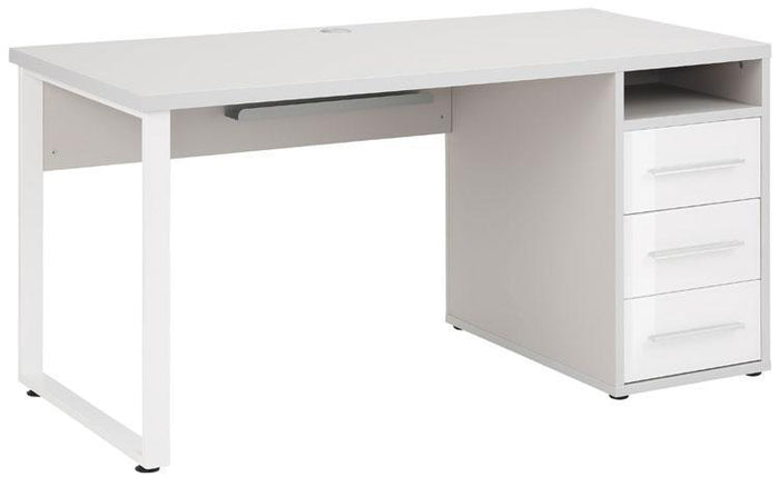 Maja Set+ 1500 Pedestal Desk in Platinum Grey and White Glass (1675-6346)