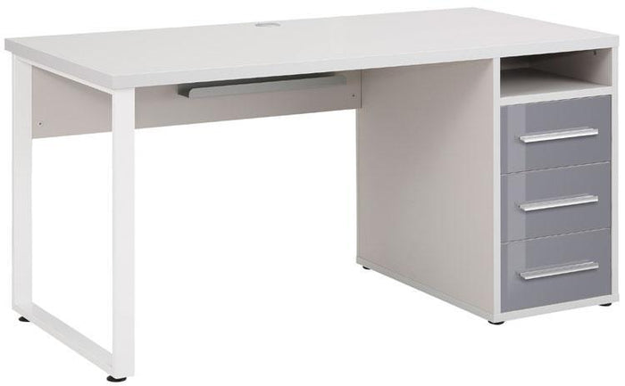 Maja Set+ 1500 Pedestal Desk in Platinum Grey and Grey Glass (1675-6383)