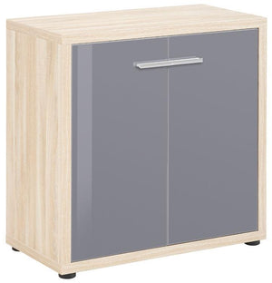 Maja Set+ Low 2-Door Cupboard in Natural Oak and Grey Glass (1680-2483)
