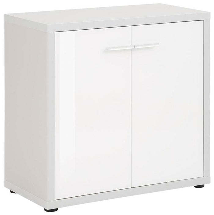 Maja Set+ Low 2-Door Cupboard in Platinum Grey and White Glass (1680-6346)