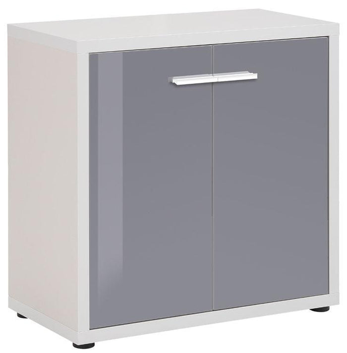 Maja Set+ Low 2-Door Cupboard in Platinum Grey and Grey Glass (1680-6383)
