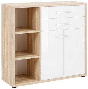 Maja Set+ Cupboard Combi in Natural Oak and White Glass (1681-2446)