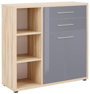 Maja Set+ Cupboard Combi in Natural Oak and Grey Glass (1681-2483)