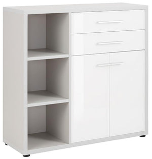 Maja Set+ Cupboard Combi in Platinum Grey and White Glass (1681-6346)