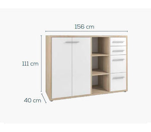Maja Set+ Maxi Cupboard Combi in Natural Oak and White Glass (1683-2446)
