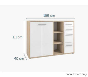 Maja Set+ Maxi Cupboard Combi in Natural Oak and Grey Glass (1683-2483)