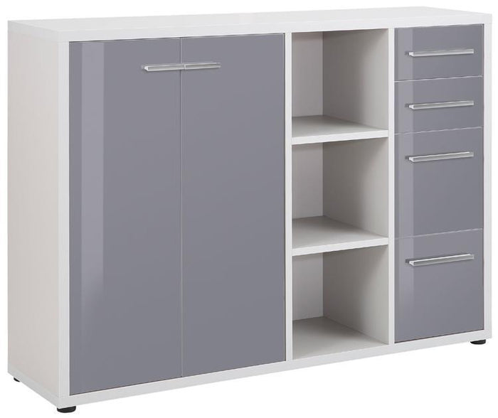 Maja Set+ Maxi Cupboard Combi in Platinum Grey and Grey Glass (1683-6383)