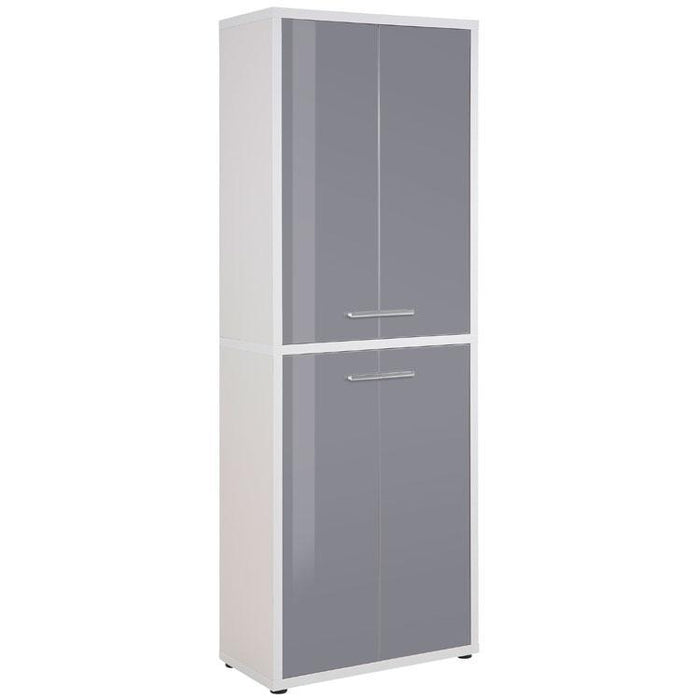 Maja Set+ Tall 4-Door Cupboard in Platinum Grey and Grey Glass (1685-6383)