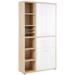 Maja Set+ Tall Storage Combi in Natural Oak with White Glass (1687-2446)