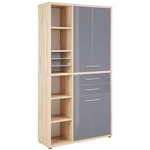 Maja Set+ Tall Storage Combi in Natural Oak and Grey Glass (1687-2483)