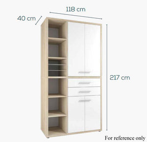 Maja Set+ Tall Storage Combi in Platinum Grey with White Glass (1687-6346)