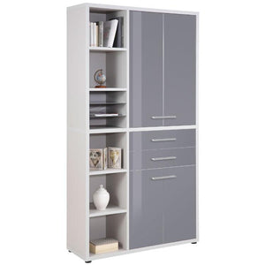 Maja Set+ Tall Storage Combi in Platinum Grey and Grey Glass (1687-6383)