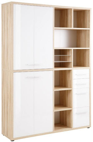 Maja Set+ Tall Wide Storage Combi in Natural Oak and White Glass (1689-2446)