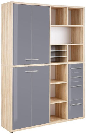 Maja Set+ Tall Wide Storage Combi in Natural Oak and Grey Glass (1689-2483)