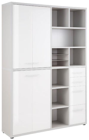 Maja Set+ Tall Wide Storage Combi in Platinum Grey and White Glass (1689-6346)