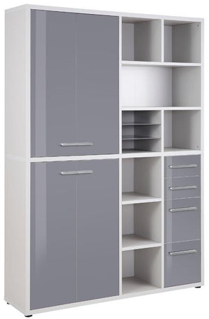 Maja Set+ Tall Wide Storage Combi in Platinum Grey and Grey Glass (1689-6383)
