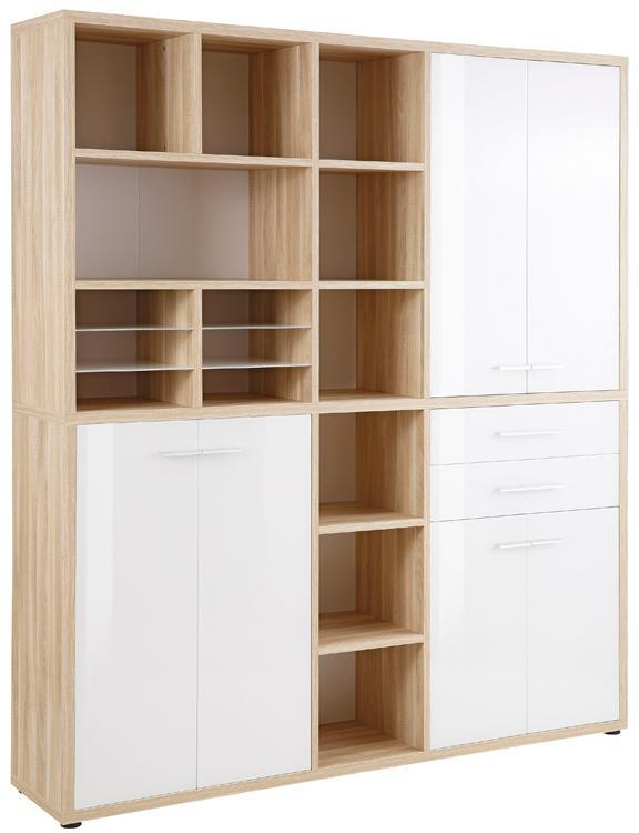 Maja Set+ Tall Maxi Storage Combi in Natural Oak and White Glass (1691-2446)