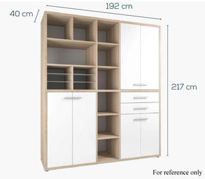 Maja Set+ Tall Maxi Storage Combi in Natural Oak and Grey Glass (1691-2483)
