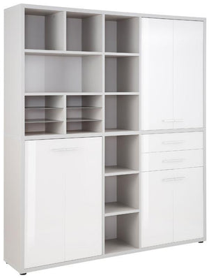 Maja Set+ Tall Maxi Storage Combi in Platinum Grey and White Glass (1691-6346)