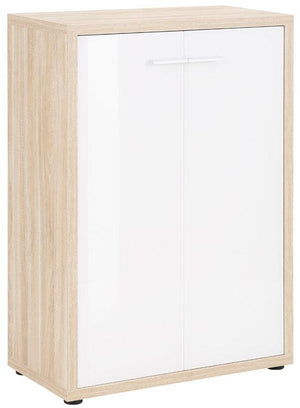 Maja Set+ 2-Door Cupboard in Natural Oak and White Glass (1693-2446)