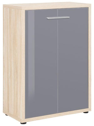 Maja Set+ 2-Door Cupboard in Natural Oak and Grey Glass (1693-2483)