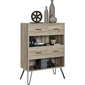 Dorel Home Landon Range Retro Bookcase in Distressed Grey Oak