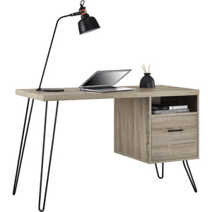 Dorel Home Landon Range Retro Desk in Distressed Grey Oak