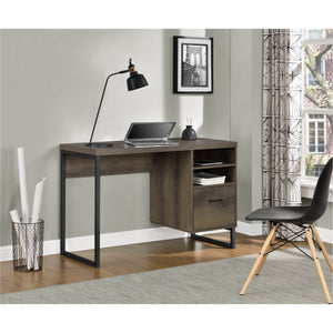 Dorel Home Candon Range Desk in Medium Brown