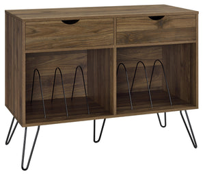 Dorel Home Concord Turntable Stand with Drawers in Walnut