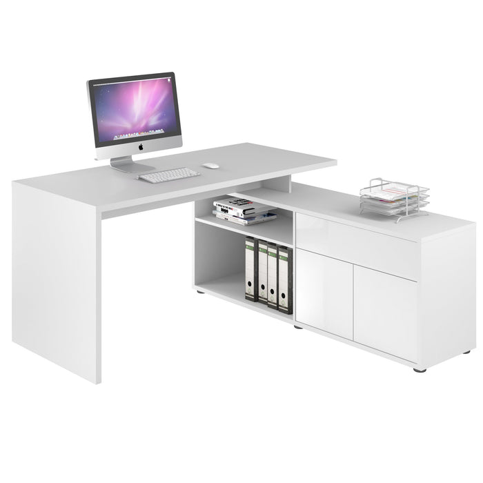 Maja Maximus Icy White and Gloss White Corner Desk (4020 3956)