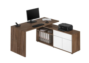 Maja Maximus Dark Oak and Gloss White Corner Desk (4020 7656)